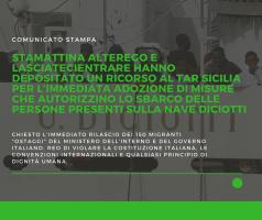 Stamattina Alterego e LasciateCIEntrare hanno depositato un ricorso al TAR Sicilia per l'immediata adozione di misure che autorizzino lo sbarco delle persone presenti sulla nave Diciotti